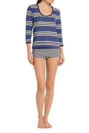 Brigitte striped cotton-jersey pajama top