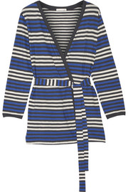 Bianca striped cotton-jersey robe