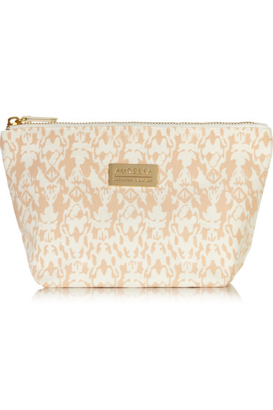 AURELIA PROBIOTIC SKINCARE Signature Printed Cotton-Canvas Cosmetics Case in Peach
