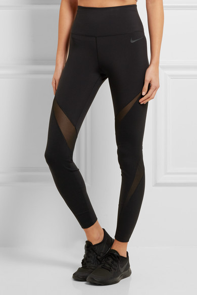 Nike | NikeLab Essentials Dri-FIT mesh-paneled stretch leggings ...