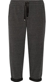 Stretch cotton-blend jersey track pants
