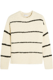 Striped cotton-blend bouclé sweater
