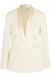 Satin-trimmed cotton-twill blazer