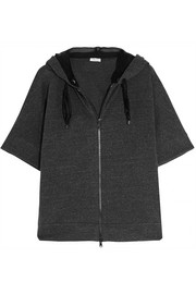 Stretch cotton-blend jersey hooded top