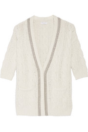 Embellished cable-knit wool-blend cardigan