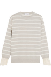 Lace-trimmed striped cashmere sweater