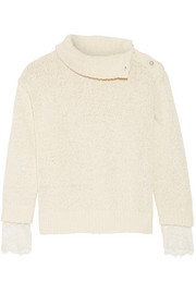 Lace-trimmed cotton and linen-blend sweater
