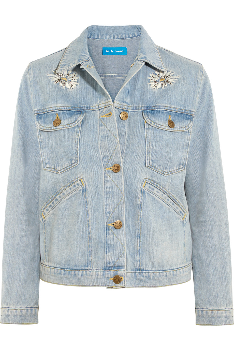 Embroidered Denim Jacket, Mid Denim, Women's