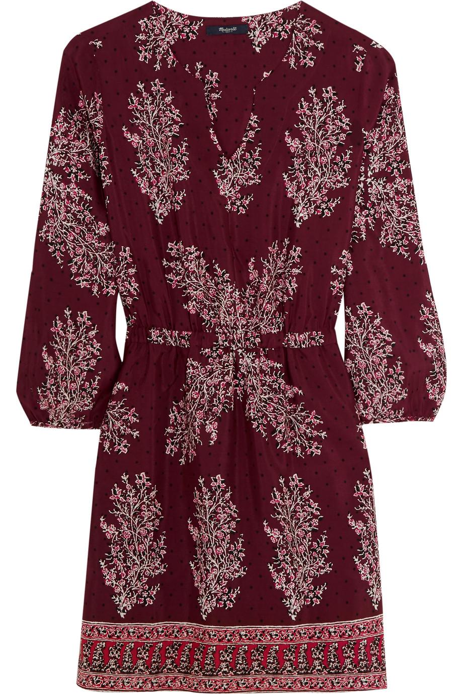 Madewell Printed Silk Crepe De Chine Mini Dress, Burgundy, Women's - Printed, Size: 0