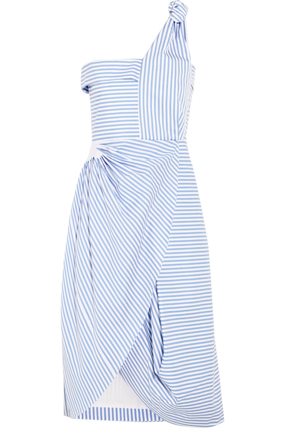 J.W.Anderson Asymmetric Striped Cotton-Poplin Dress, Light Blue, Women's, Size: 12