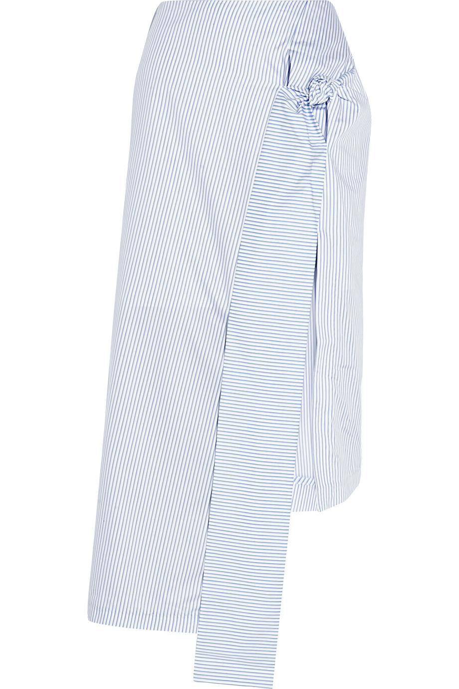 J.W.Anderson Knotted Striped Cotton-Poplin Skirt, Light Blue, Women's, Size: 12