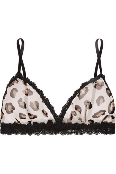 a9dd29c9d1 Hanky Panky. Lace-trimmed leopard-print chiffon soft-cup bra