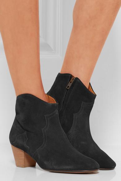 isabel marant etoile 50mm dicker suede ankle boots washed black. Black Bedroom Furniture Sets. Home Design Ideas