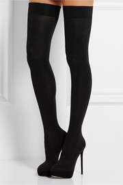Charlotte Olympia + Agent Provocateur More Is More glittered suede and stretch over-the-knee boots