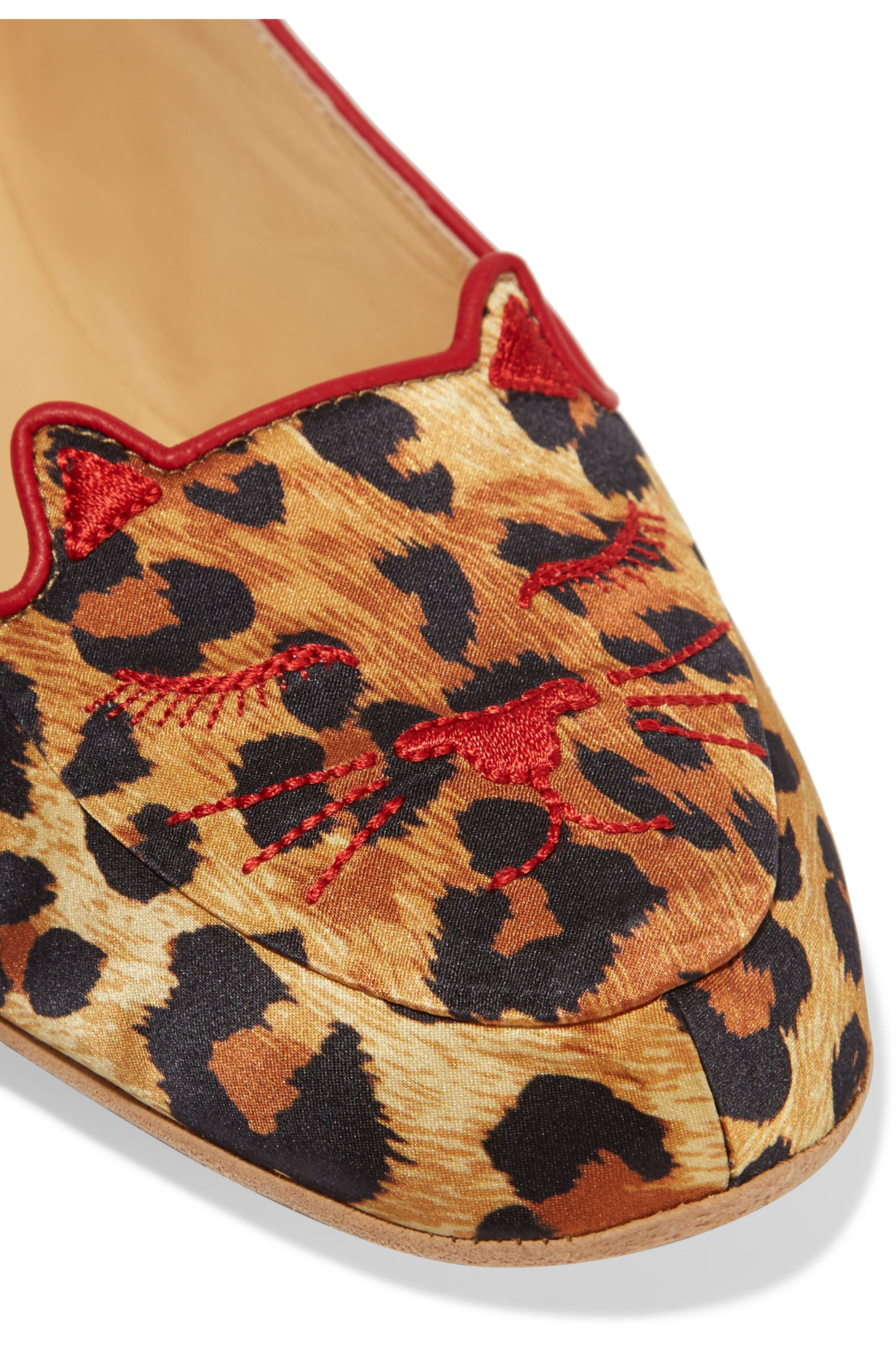 Charlotte Olympia + Agent Provocateur Wild Cat Naps embroidered satin slippers