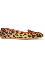 + Agent Provocateur Wild Cat Naps embroidered satin slippers