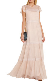 Lace-paneled crinkled-chiffon gown