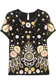 Needle & Thread Embellished embroidered crepe top