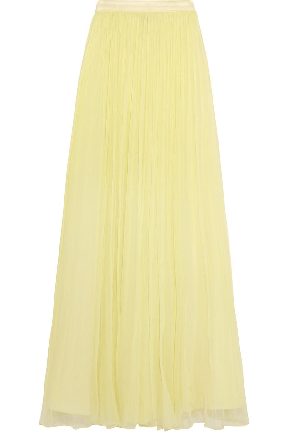 Needle & Thread Crinkled-Chiffon Maxi Skirt, Pastel Yellow, Women's, Size: 12