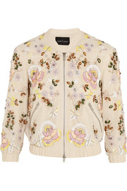 Embellished georgette bomber jacket
