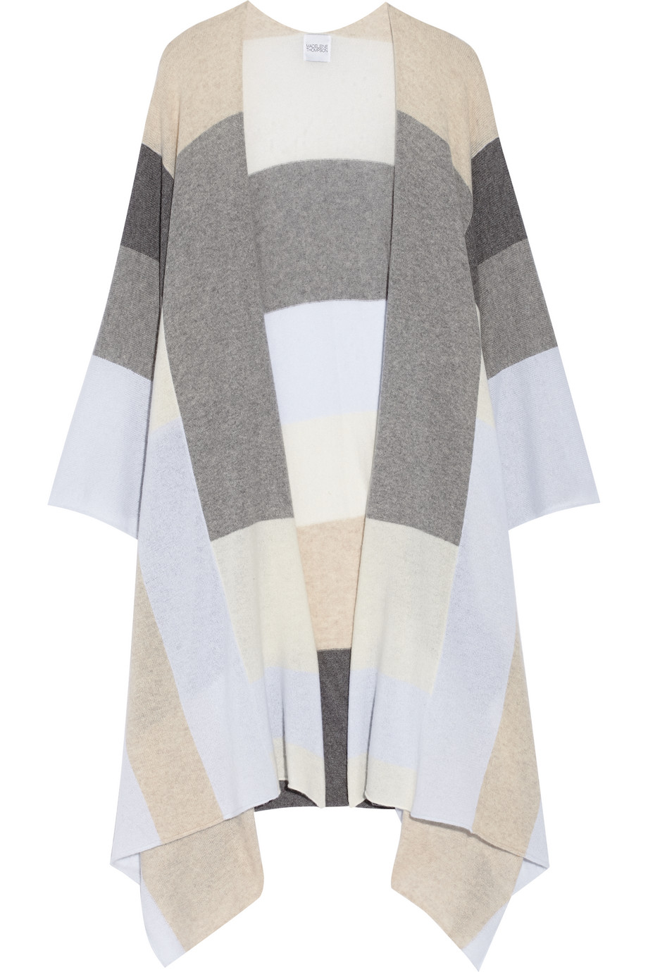 Color-Block Cashmere Wrap, Madeleine Thompson, Gray, Women's