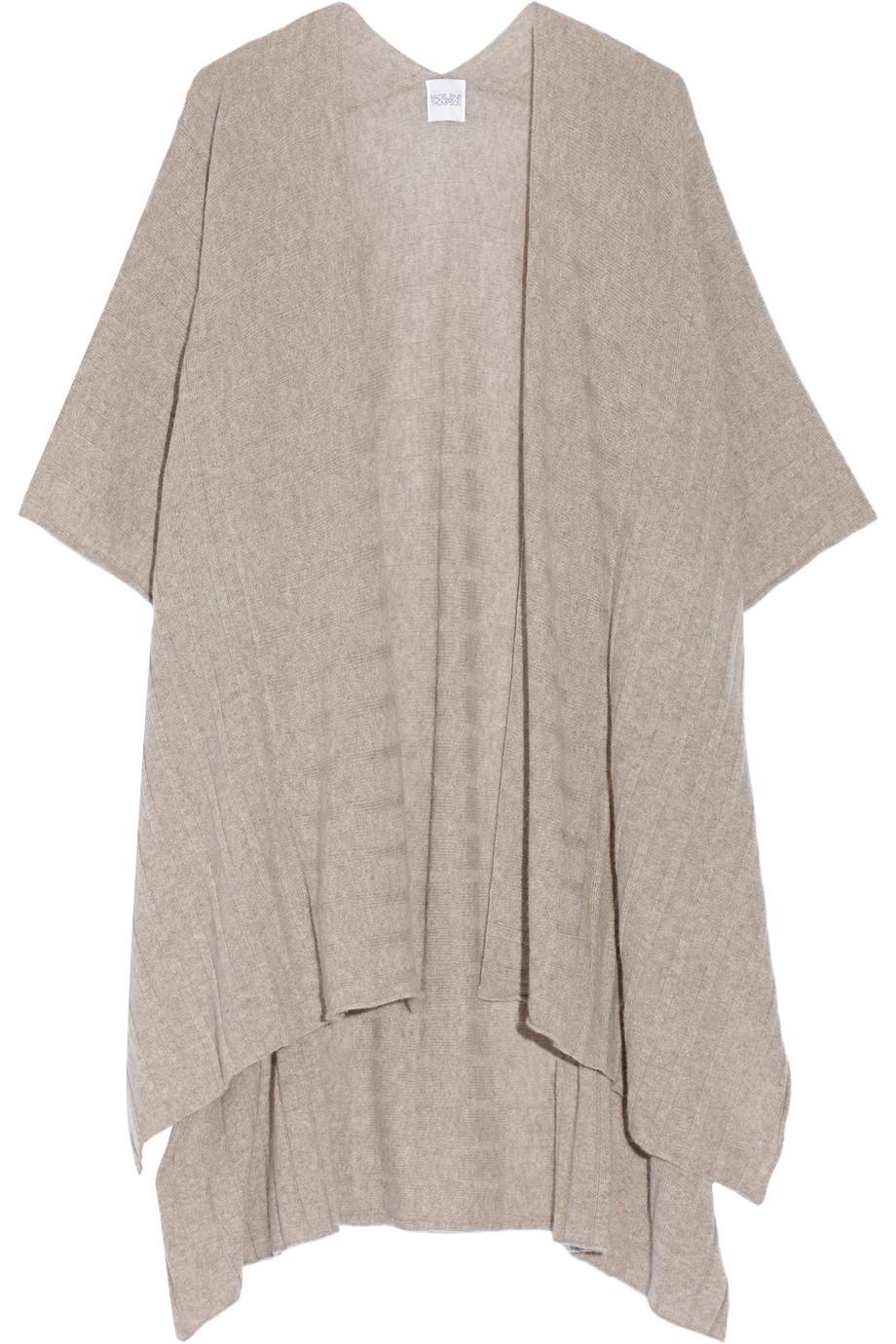 Ribbed-Knit Cashmere Wrap, Madeleine Thompson, Mushroom, Women's
