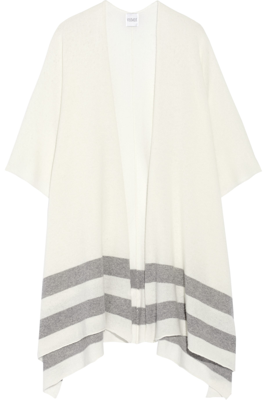 Striped Cashmere Wrap, Madeleine Thompson, Cream, Women's