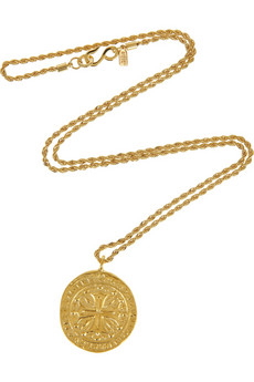 Kenneth Jay Lane 22-karat gold-plated coin necklace