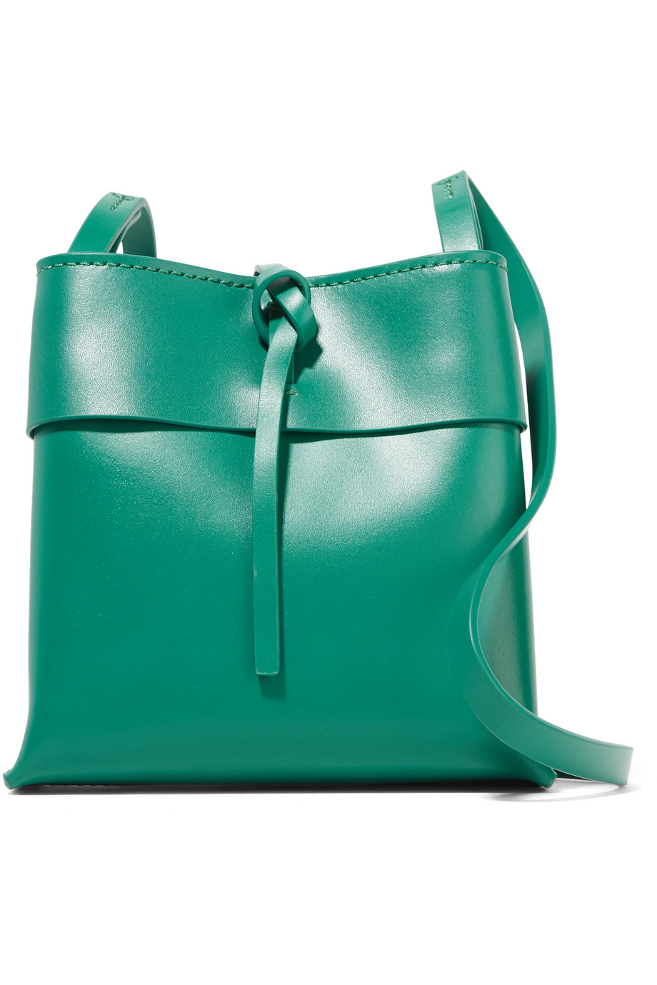 Nano Tie Leather Shoulder Bag, Jade, Women's