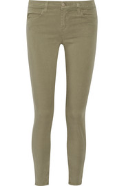 Brushed-twill skinny pants