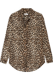 Signature leopard-print washed-silk shirt