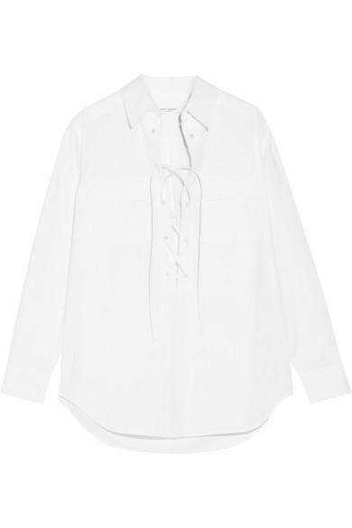 Equipment. Knox lace-up cotton-poplin shirt