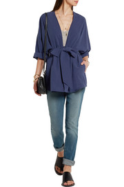 Equipment Davin oversized washed-silk jacket