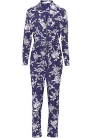 Maverick printed brushed-silk jumpsuit