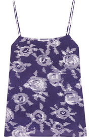 Cara printed washed-silk camisole