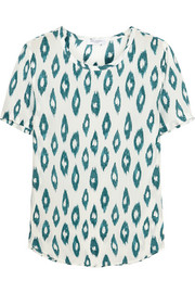 Riley printed washed-silk T-shirt