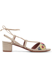 Lori Meadow floral-embroidered linen sandals