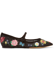 Hermione Meadow suede-trimmed embroidered lace point-toe flats