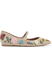 Hermione Meadow floral-embroidered linen point-toe flats