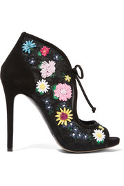 Dusty Meadow floral-embroidered lace and suede sandals