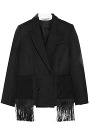Macramé-trimmed wool-blend jacket