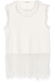 Fringed stretch-knit top
