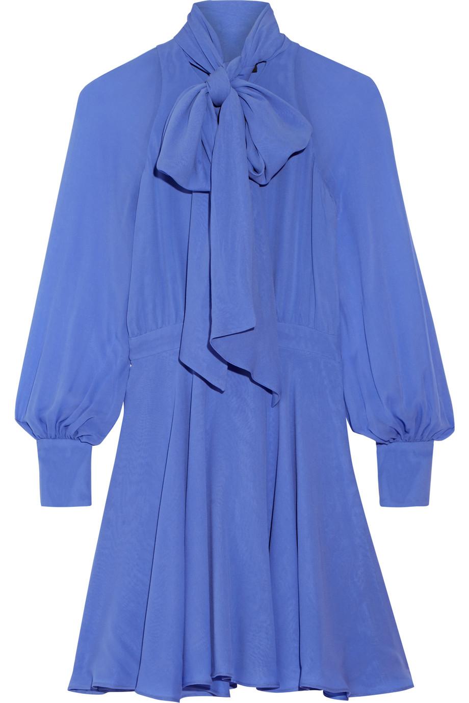 Haney Pussy-Bow Silk-Georgette Mini Dress, Blue, Women's, Size: 4