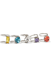 Bonita set of five oxidized silver-plated Swarovski crystal ear cuffs