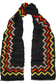 Eventide Flaming embellished cashmere scarf