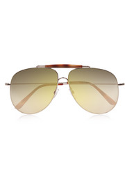 Aviator-style gold-tone and acetate sunglasses