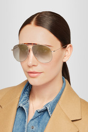 Valentino Aviator-style gold-tone and acetate sunglasses