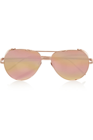 59debe52e7d Linda Farrow. Aviator-style rose gold-plated mirrored sunglasses
