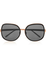Square-frame acetate and metal sunglasses