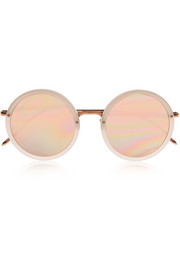 Round-frame acetate and rose gold-plated sunglasses